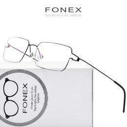 833aee85909 FONEX Korean Glasses Frame Men Handmade Eyeglasses Prescription Myopia  Panto Optical Frame Screwless Eyewear Korea Denmark Italy 98606
