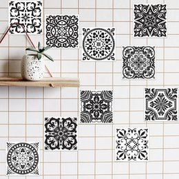 sticker toilet wall waterproof Coupons - Black and White Retro Tile Tiles Stickers PVC Bathroom Toilet Waterproof Wall Stickers Home Decor Wall Poster adesivo de parede