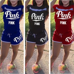 Wholesale Cotton Bowling Shirts - Women Clothes Love Pink Tracksuit Girls Summer Outfit Pink Letter Print Sportswear Short Sleeve Tops T Shirt + Shorts 2PCS Jogger Suit red