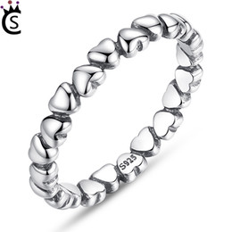 Wholesale valentine rings - 100% Solid 925 Sterling Silver Rings Forever Love Heart Finger Ring Original Jewelry New Year and Valentines Day Gift Pandora Rings