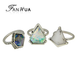 Wholesale Natural Blue Stone Rings - whole saleFANHUA 3pcs set Boho Style Anel Antique Silver Color Geometric Green Blue Natural Stone Finger Rings sets for Women