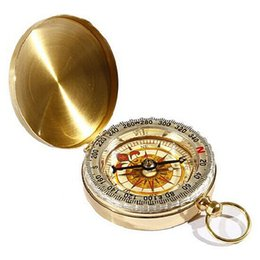 Wholesale Watch Stainless Steel Compass - Vintage Gold compass Bronze Men Women Analog pocket watch Pendant Necklace gift