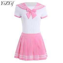 YiZYiF Femmes Sexy Cosplay lingerie écolière étudiant uniforme Snap Crotch Romper avec Mini jupe anime Jeu de rôle Costume Costume ? partir de fabricateur