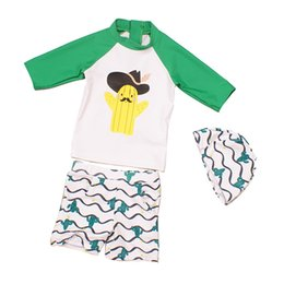 Wholesale Boys Swim Pants - Hot Sale Summer Baby Swimwear child seaman swimsuit cactus Ptint Cute swimming suit Cartoon Kids boy beach pants Tops suit with cap A9146