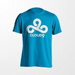 Wholesale Clouds Shirt - LOL DOTA Game Team Cloud 9 C9 Summer Tee Shirt Blue Cotton Jersey Short Sleeve T-shirt High Quality Free Shipping