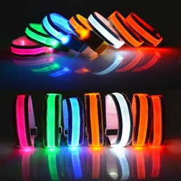 Wholesale Usb Belt - Arm Warmer Belt Bike LED Luminous Armband LED Safety Sports Reflective Belt Strap Snap Wrap Light up Arm Band Armband