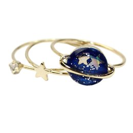 Wholesale Alloy Rhinestone Rings - Solar System Universe stars Rings Crystal Gold Rings Sets Fashion Jewelry for Women Gifts Drop Shiping