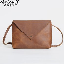 CICICUFF Vintage Crazy Horse Leather Shoulder Messenger Bag Envelope  Documents Pouch for Men and Women Mini Mobile Phone Bags 2a1d92f4f9956