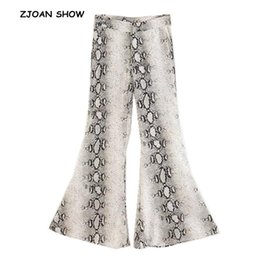 богемные леггинсы Скидка Ethnic Snake Pattern print Flare Pants Women Bohemian Tribal African Print Long Trousers Bell Bottom Leggings Hippie Pants
