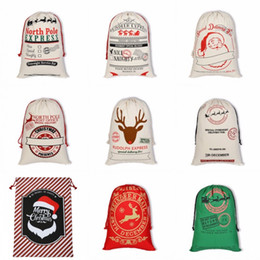 reindeer pattern Promo Codes - 50*70cm Christmas Theme Gift Bags Reindeers Santa Claus Pattern Canvas Bag Rectangle Foldable Pack New Arrival 11 2by BB