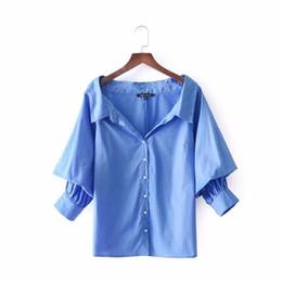 Wholesale three quarter loose sleeve blouse - women vintage sexy off shoulder loose shirt candy color three quarter casual slim blouse femininas blusas tops LS1837