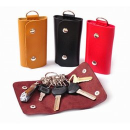 Wholesale Portátil Clips PU Leather Car Keychain Key Holder Bag Case Wallet Cover Key Wallet