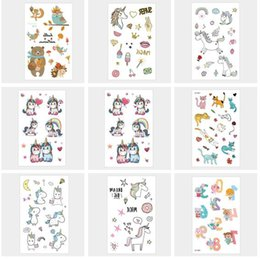 Wholesale Stickers Tattoos For Kids - Unicorn Temporary Tattoo Sticker for body Art Unicorn fly horse Temporary Cartoon Tattoo Fake Tatoo for Kid Child Gifts DHL Free Shipping
