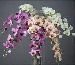 Fleur d'orchidée bleu violet artificielle en Ligne-100p Soie Phalaenopsis Orchid Fleurs Simple Tige De Moth Orchid Pour Le Mariage Pièces maîtresses Artificielle Fleurs décoratives blanc / bleu / violet / vert