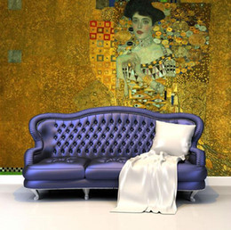 Wholesale Gustav Paintings - Portrait of Adele Bloch-Bauer I Murals Gustav Klimt Painting Art Wallpaper Custom Large photo wallpaper Bedroom Study Room decor
