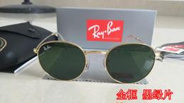 Lunettes de soleil rondes de haute qualité 50mm 3447 lentille miroir vert clair lunettes de soleil en métal marque de designer or avec lunettes de soleil ? partir de fabricateur