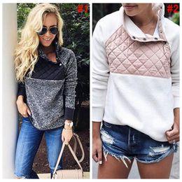 Wholesale Wholesale Soft Fleece Hoodies - Women Fleece Sherpa Pullover Sweatshirt Casual Button Collar Soft Warm Winter Patchwork Hoodies Outwear 2 Colors 30pcs OOA4234