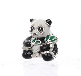 Panda charme armbänder online-Authentische 925 Sterling Silber Schmuck süße Panda, Mixed-Emaille Mode Charms Perlen passt Original Pandora Armbänder