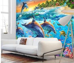 Murales oceaniche online-Carta da parati 3d foto personalizzata Dolphin coral fish swimming in the blue ocean Home decor soggiorno 3d murales wallpaper per pareti 3 d
