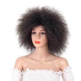 2019 parrucche delle ragazze nere Parrucca sintetica afro per le donne africane colore nero scuro Yaki parrucca diritta corta Capelli Cosplay Kanekalon SASSY GIRL parrucche delle ragazze nere economici