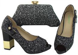 2019 b robes sac à main Nouveau mode noir femmes pompes avec talon strass 9.5CM chaussures africaines correspondent sac à main ensemble pour robe BCH-31A b robes sac à main pas cher