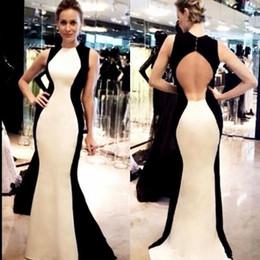 Open back sereia vestidos preto on-line-Preto e branco Sereia Vestidos de Noite Sexy Aberto de Volta Sem Mangas Longos Vestidos de Baile Mulheres Vestido de Festa Formal Barato Vestidos