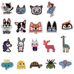 Wholesale diy cat bag - 19 Mixed Embroidery Patches Sew Iron On Dog Cat Rabbit Unicorn Embroidered Badge For Bag Jeans Hat T Shirt DIY Appliques Craft Decoration