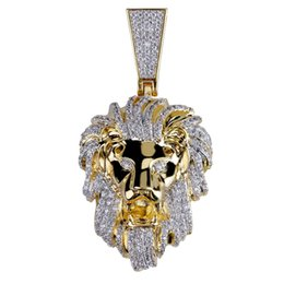 14k gold lion pendant UK - Iced Out Gold Color Micro Pave Cubic Zircon Lion Head Pendant Necklace for Men Women Hip Hop Bling Party Jewelry