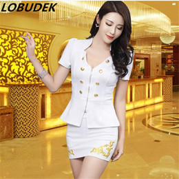 Wholesale Sexy Bar Uniforms - Wholesale-(top+skirt) skirt suits set club KTV Waitress work clothes nightclub bar female sexy uniform stage costumes DJ DS performance