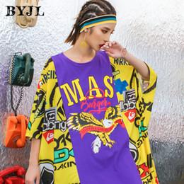 2018 stile coreano hip hop t shirt dress cucitura lettera stampato o collo  manica corta aquila streetwear abiti da ballo SZ6279 sconti hip hop di  danza ... 699f7a98cd46
