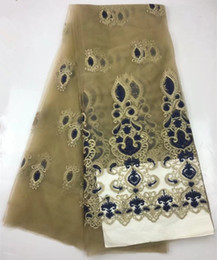 Wholesale Embroidered Cotton Voile Fabric - African Swiss Voile Net Lace Fabric 2017 Latest gold Color NIgerian Embroidered Lace Wedding Dress Material French Mesh 506-12-1