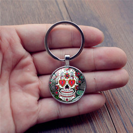 Wholesale Mans Time Style - Skeleton time gem cabochon key chain Punk style weird skull pattern key ring Individuality key rings