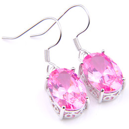 pink gemstones earrings Coupons - Luckyshine girl Gift Jewellery Oval Pink Kunzite Cubic Zirconia Gemstone Silver Dangle Earrings for Holiday Wedding Party 10 Pair