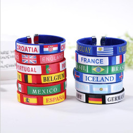 Wholesale Fabric World - 11 design Russia World Cup Flags Silicone Bracelet Hand Ring wrist strap World Cup Flags countries flag Bracelet Football Flag KKA4875