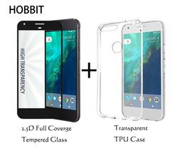 Wholesale Body Google - For Google Pixel Transparent TPU back Cover case and 2.5D cover full coverage Tempered Glass Screen Protector for Pixel XL