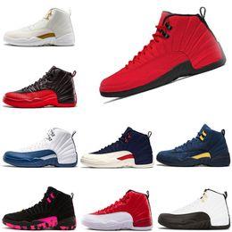 Популярные продукты онлайн-Новые мужские ботинки 12 12s Баскетбольные кроссовки Популярные товары Bulls Cllege Doernbecher Мичиган темно-синий грипп Игра гамма-синий Размер кроссовок US 7-13