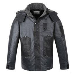 Wholesale black leather sport coat - Fall-Viishow Winter Black Jacket Men Hooded Warm Casual Parka Coat Hooded Design Men Leather Jacket Men Outdoor Sport Wear Clothing