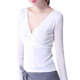 Wholesale V Neck Undershirts - Vertvie Sport Shirt Women Mesh Yoga Shirts Women Exercise T-shirt Transparent Long Sleeve Sexy Deep V-neck Tops Undershirt