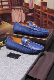 Wholesale Low Heel Dress Shoes Wedding - [Original Box] Luxury Brand Mens Loafers Shoe Dress Sequined Low Cut Walking Cow Leather Leisure Drive Casual Party Shoes Size 38-44