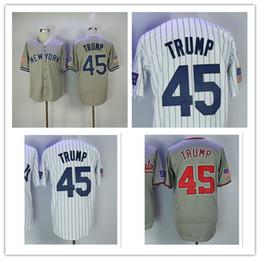 Wholesale Baseball Jerseys Washington - Men's Donald Trump Jersey Washington New York 45 Embroidery Gray White Pinstripe Baseball Jerseys