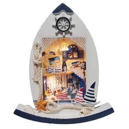 mobiliário mediterrâneo Desconto DIY Casa De Bonecas De Madeira Casas De Bonecas Miniaturas para bonecas Casa De Bonecas Kit de Móveis casas de boneca Brinquedos para Crianças Presente Mediterrâneo