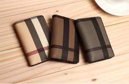 Wholesale Korean Male Style - Fashion Classic Plaid desings Leather Men Wallets Cowhide Coin Purse Small Credit&id Wallets Short Male Purse Business Card Holders