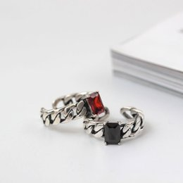 Wholesale Original Agate - Original charm Jewelry fashiong sterling silver 925 rings Thai silver red black Agate retro ring lovers woman couple ring ecg china direct