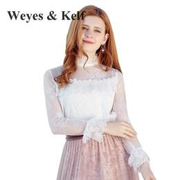 Wholesale Ladies See Through Blouses - Weyes & Kelf Sweet Lace Black Shirt Women For Spring 2018 Fashion See Through Shirt Long Sleeve Ladies Summer Blouses Women Tops