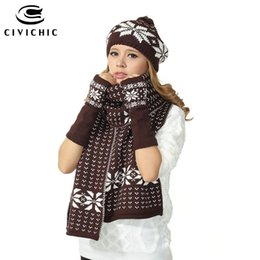 Wholesale girls ladies knitted scarves - CIVICHIC Girl Christmas Gift Knit Hat Scarf Gloves 3 Pieces Set Lady Thicken Shawl Warm Jacquard Beanies Pompon Headwear SH114