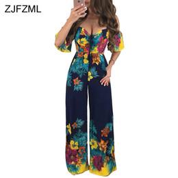 37b417c38a19 ZJFZML Off Shoulder Vintage Wide Leg Jumpsuits Women Slash Neck Floral Print  Long Romper Short Sleeve Open Back Bohemian Overlls
