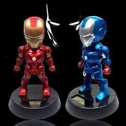 Wholesale Luffy Pvc - 2 Colors 12cm Q Version Action Figure Luffy Tony Superhero Iron Man PVC Figure Solar Energy Shake Head Toy CA9647 20pcs