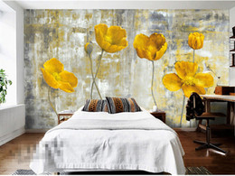 papel de parede floral do quarto Desconto Flor amarela Photo Wallpapers Murais Sala de estar Quarto Wall Art Home Decor Pintura papier peint 3d Papel De Parede Floral