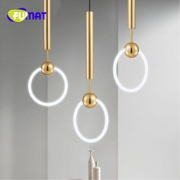 Wholesale loop master - FUMAT Nordic Art LED Rudi Loop Creative Concise Style Dining Room Pendant Lamp Gold Ring Cafe Restaurant Decoration Lamp Free Shipping