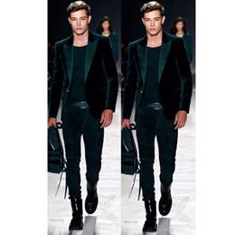 Homens casaco de veludo on-line-Mais recente Casaco Calça Projetos de Veludo Verde Prom Men Suit Set Slim Fit Smoking (Jacket + Calças) Personalizado Blazers Ternos Do Noivo Traje Homme